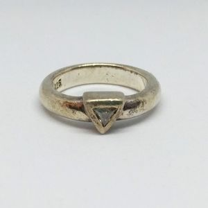 Triangle CZ Sterling Silver Thick Ring Trillion